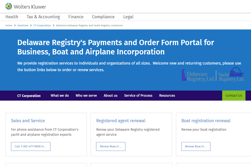Yacht and Delaware Registry a CT corporation and part of Wolters Kluwer